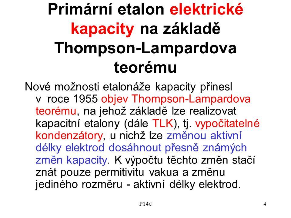 P14d4 Primární etalon elektrické kapacity na základě Thompson-Lampardova teorému Nové možnosti etalonáže kapacity přinesl v roce 1955 objev Thompson-L