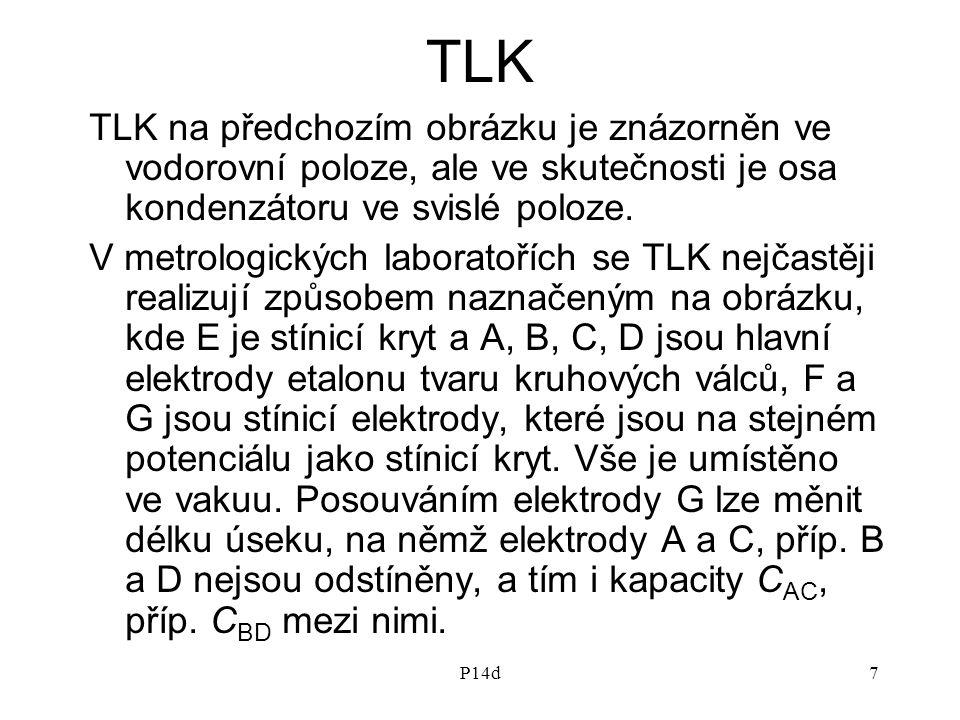 P14d7 TLK TLK na předchozím obrázku je znázorněn ve vodorovní poloze, ale ve skutečnosti je osa kondenzátoru ve svislé poloze. V metrologických labora
