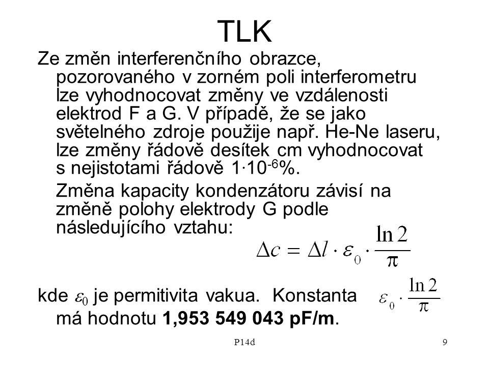 P14d9 TLK Ze změn interferenčního obrazce, pozorovaného v zorném poli interferometru lze vyhodnocovat změny ve vzdálenosti elektrod F a G. V případě,