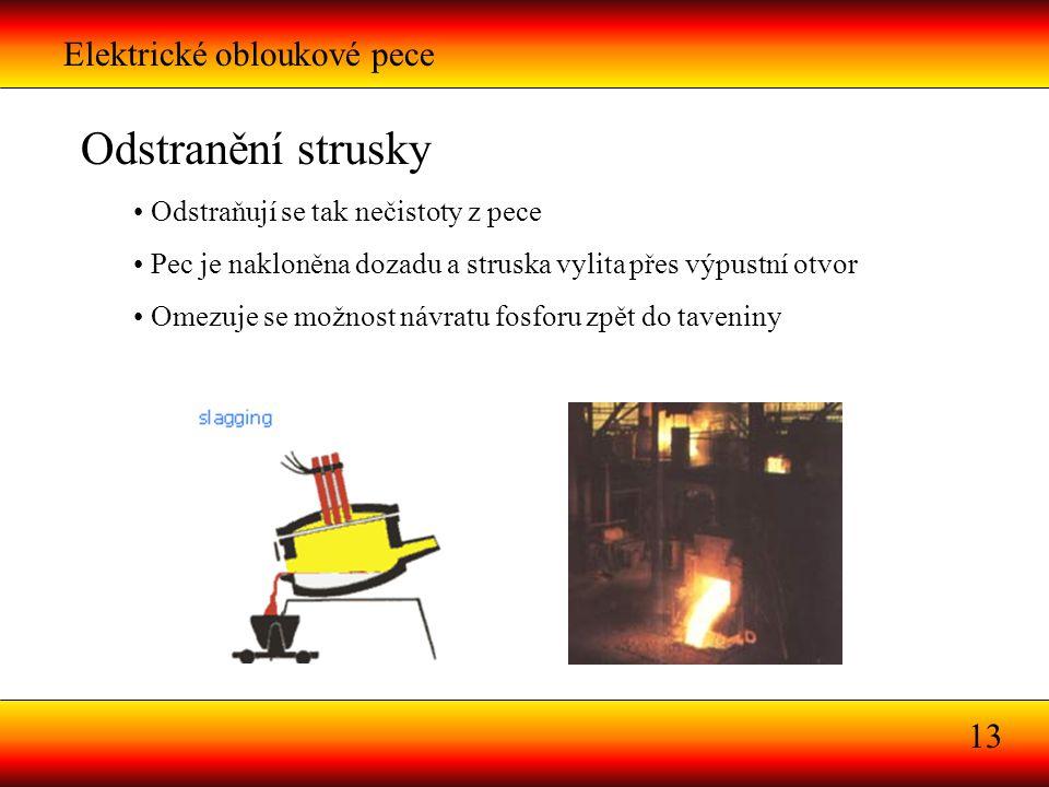 Elektrické obloukové pece 13 Odstranění strusky Odstraňují se tak nečistoty z pece Pec je nakloněna dozadu a struska vylita přes výpustní otvor Omezuj