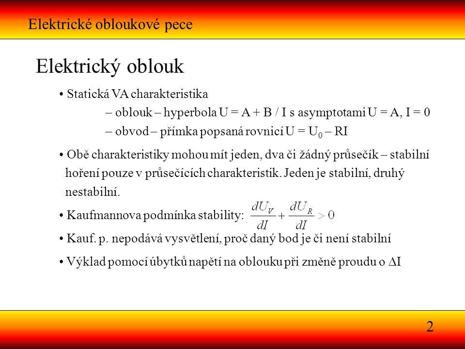 2 Elektrický oblouk Statická VA charakteristika – oblouk – hyperbola U = A + B / I s asymptotami U = A, I = 0 – obvod – přímka popsaná rovnicí U = U 0