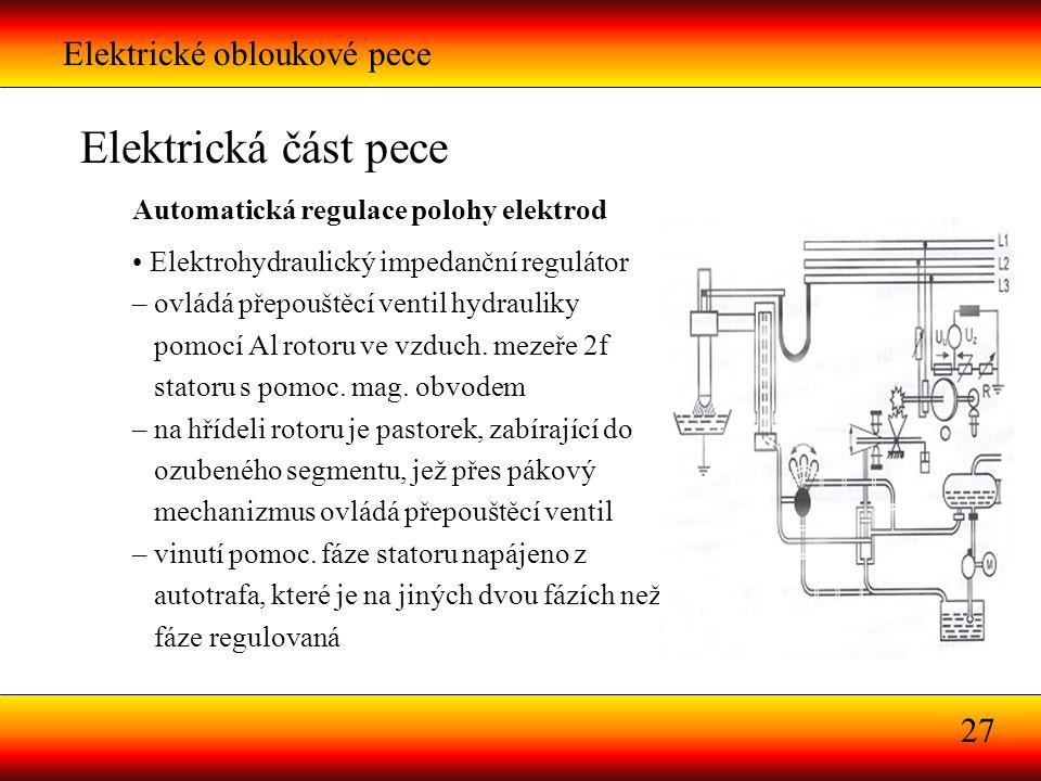 Elektrické obloukové pece 27 Elektrická část pece Automatická regulace polohy elektrod Elektrohydraulický impedanční regulátor – ovládá přepouštěcí ve