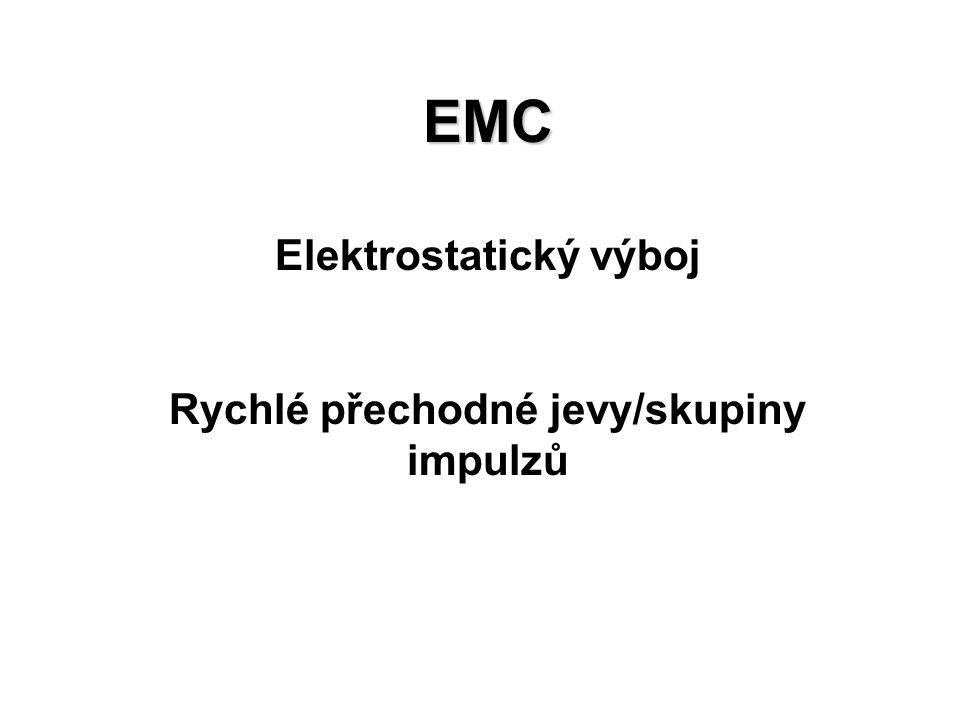 EMC Elektrostatický výboj Rychlé přechodné jevy/skupiny impulzů