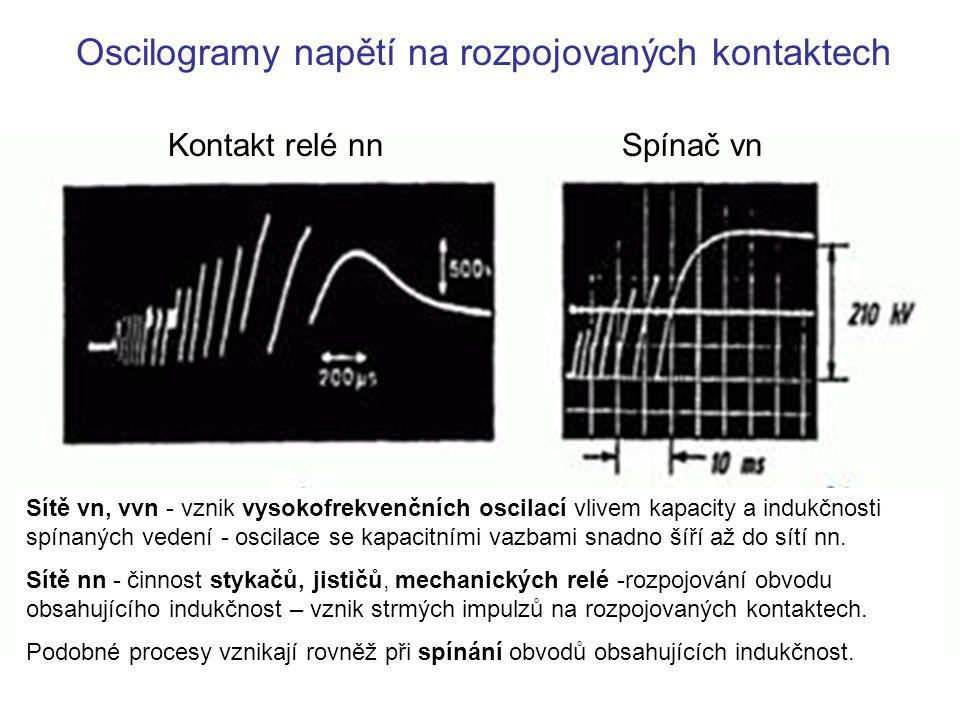 Oscilogramy napětí na rozpojovaných kontaktech Kontakt relé nnSpínač vn Sítě vn, vvn - vznik vysokofrekvenčních oscilací vlivem kapacity a indukčnosti spínaných vedení - oscilace se kapacitními vazbami snadno šíří až do sítí nn.