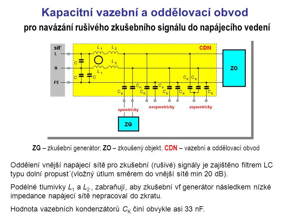 Kapacitní vazební a oddělovací obvod ZG – zkušební generátor; ZO – zkoušený objekt, CDN – vazební a oddělovací obvod Oddělení vnější napájecí sítě pro zkušební (rušivé) signály je zajištěno filtrem LC typu dolní propust´(vložný útlum směrem do vnější sítě min 20 dB).