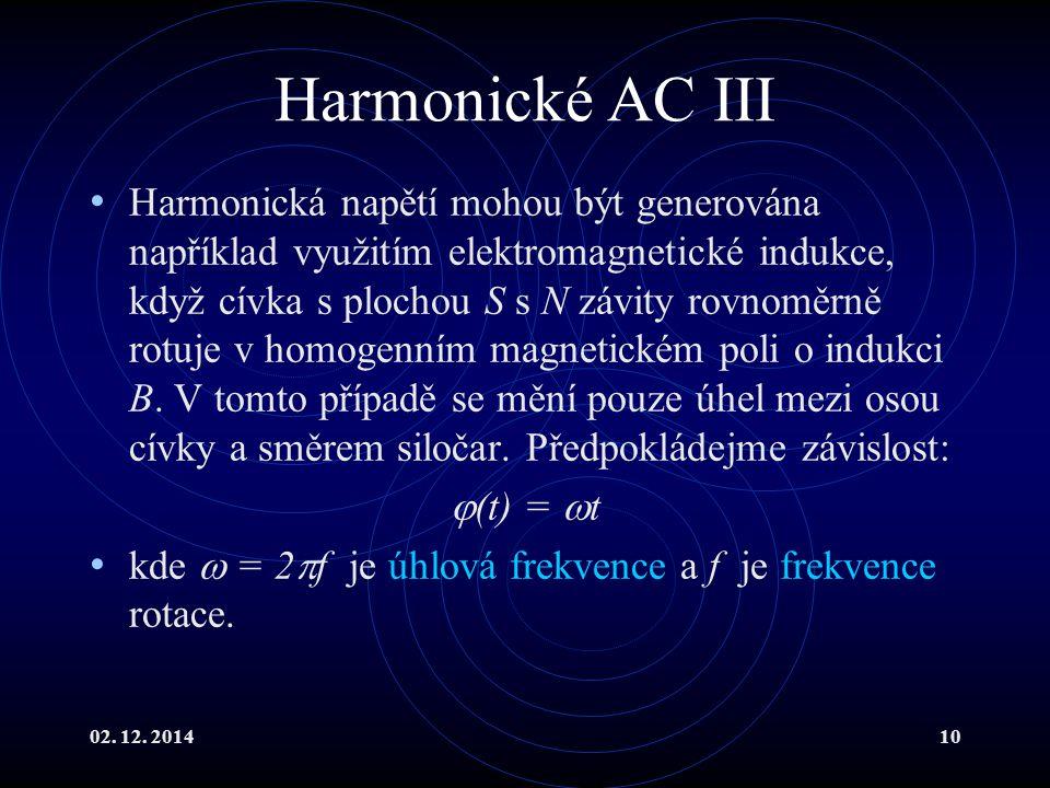 02. 12. 201410 Harmonické AC III Harmonická napětí mohou být generována například využitím elektromagnetické indukce, když cívka s plochou S s N závit