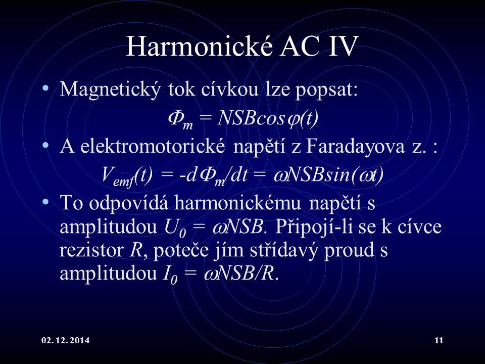 02. 12. 201411 Harmonické AC IV Magnetický tok cívkou lze popsat:  m = NSBcos  (t) A elektromotorické napětí z Faradayova z. : V emf (t) = -d  m /d