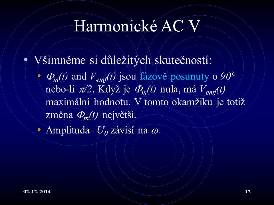 02. 12. 201412 Harmonické AC V Všimněme si důležitých skutečností:  m (t) and V emf (t) jsou fázově posunuty o 90° nebo-li  /2. Když je  m (t) nula