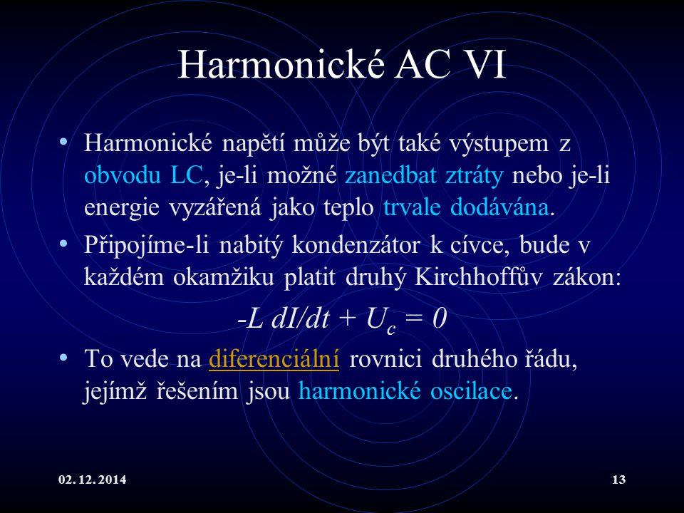 02. 12. 201413 Harmonické AC VI Harmonické napětí může být také výstupem z obvodu LC, je-li možné zanedbat ztráty nebo je-li energie vyzářená jako tep