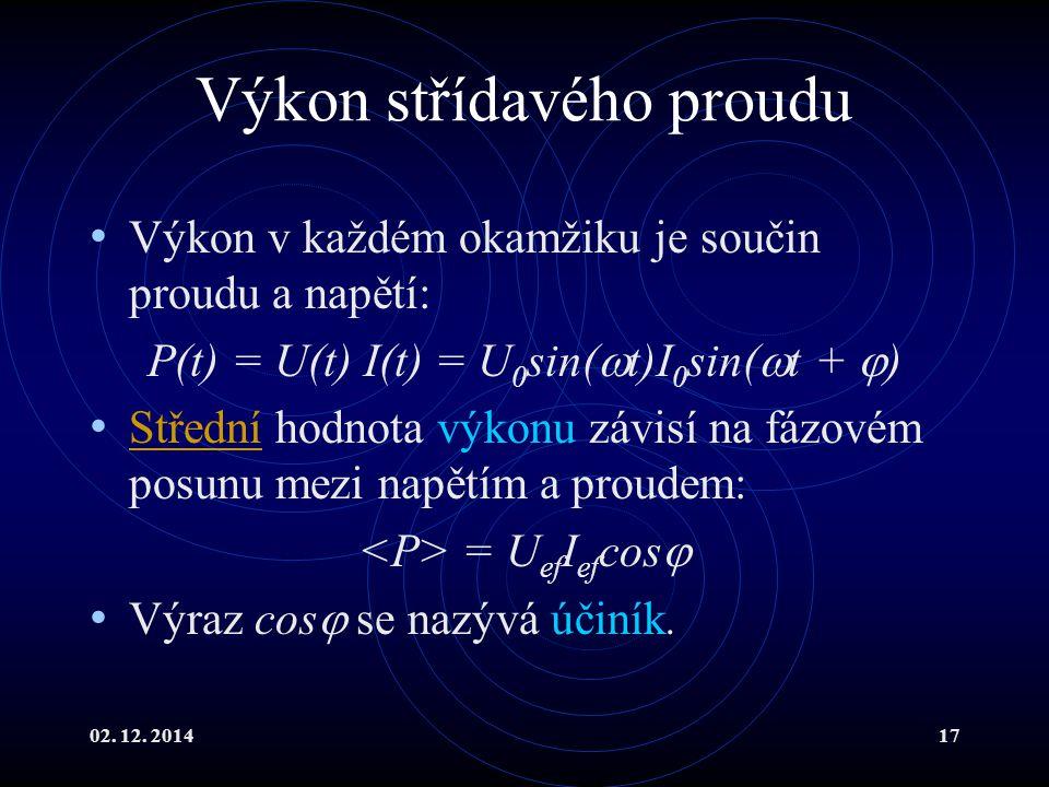 02. 12. 201417 Výkon střídavého proudu Výkon v každém okamžiku je součin proudu a napětí: P(t) = U(t) I(t) = U 0 sin(  t)I 0 sin(  t +  ) Střední h