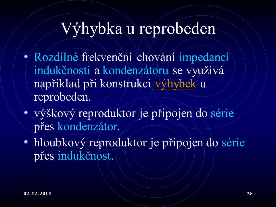 02. 12. 201425 Výhybka u reprobeden Rozdílné frekvenční chování impedancí indukčnosti a kondenzátoru se využívá například při konstrukci výhybek u rep