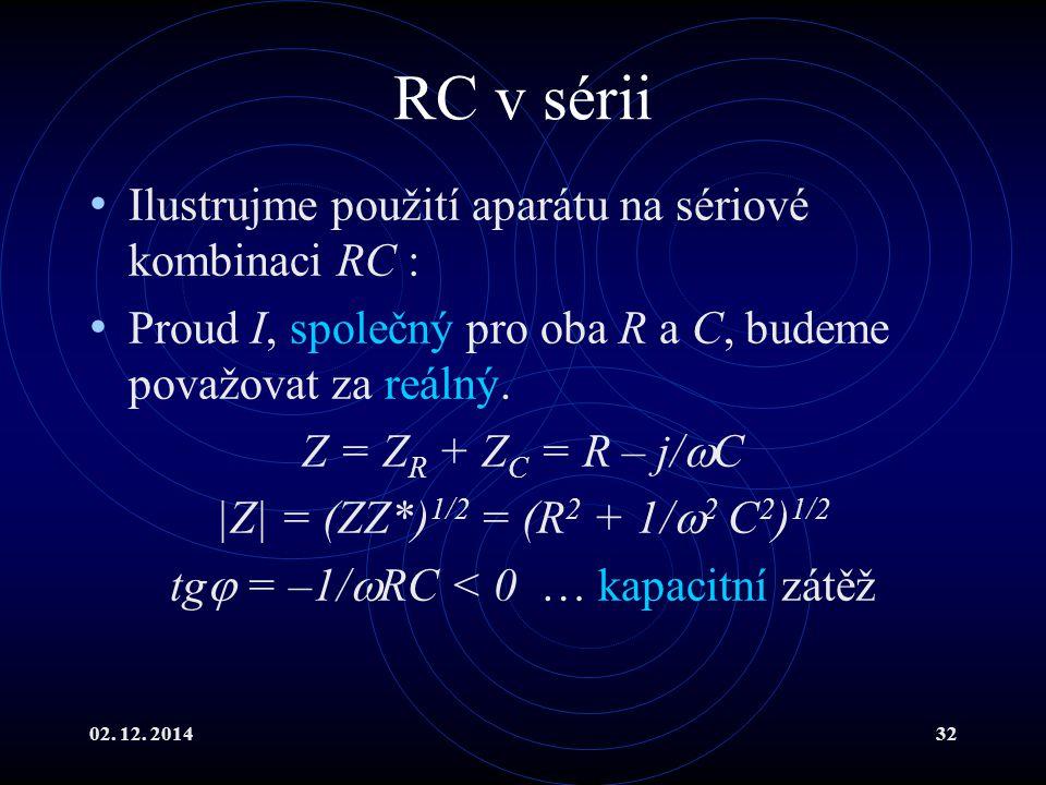 02. 12. 201432 RC v sérii Ilustrujme použití aparátu na sériové kombinaci RC : Proud I, společný pro oba R a C, budeme považovat za reálný. Z = Z R +