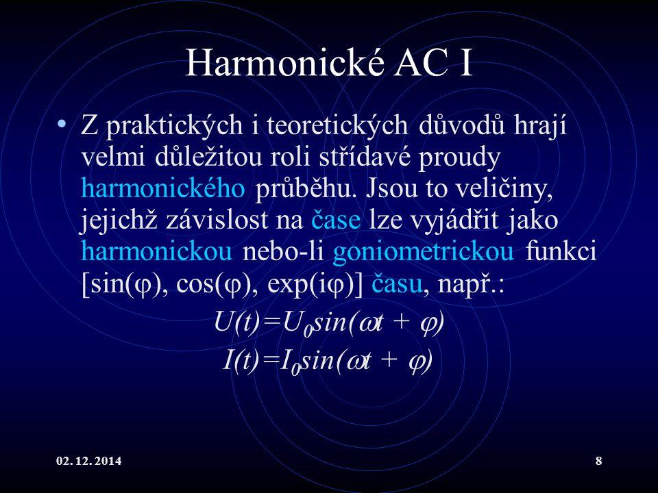 02. 12. 20148 Harmonické AC I Z praktických i teoretických důvodů hrají velmi důležitou roli střídavé proudy harmonického průběhu. Jsou to veličiny, j