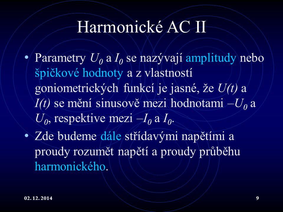 02. 12. 20149 Harmonické AC II Parametry U 0 a I 0 se nazývají amplitudy nebo špičkové hodnoty a z vlastností goniometrických funkcí je jasné, že U(t)