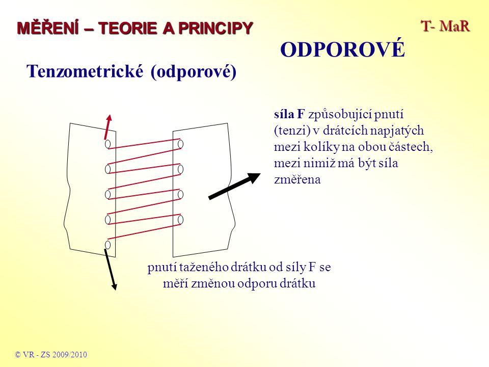 T- MaR MĚŘENÍ – TEORIE A PRINCIPY ODPOROVÉ © VR - ZS 2009/2010 Tenzometrické (odporové) síla F způsobující pnutí (tenzi) v drátcích napjatých mezi kolíky na obou částech, mezi nimiž má být síla změřena pnutí taženého drátku od síly F se měří změnou odporu drátku