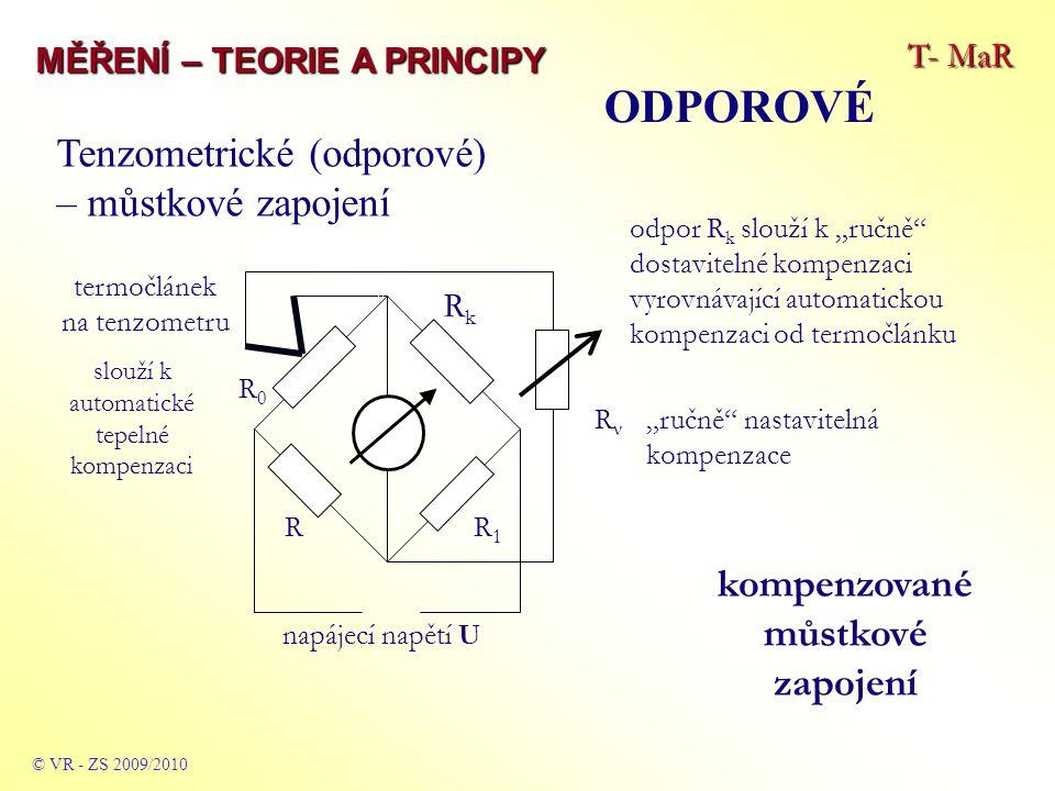 """T- MaR MĚŘENÍ – TEORIE A PRINCIPY © VR - ZS 2009/2010 """"ručně nastavitelná kompenzace kompenzované můstkové zapojení odpor R k slouží k """"ručně dostavitelné kompenzaci vyrovnávající automatickou kompenzaci od termočlánku termočlánek na tenzometru slouží k automatické tepelné kompenzaci Tenzometrické (odporové) – můstkové zapojení RνRν RkRk R1R1 R R0R0 napájecí napětí U ODPOROVÉ"""