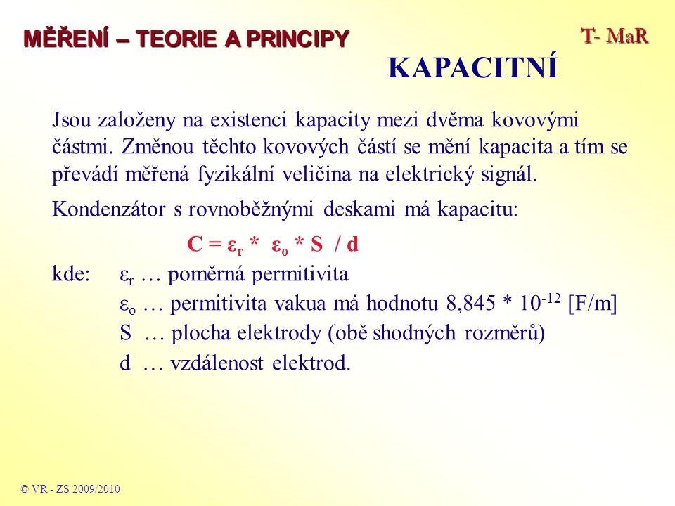 T- MaR MĚŘENÍ – TEORIE A PRINCIPY KAPACITNÍ © VR - ZS 2009/2010 Jsou založeny na existenci kapacity mezi dvěma kovovými částmi.