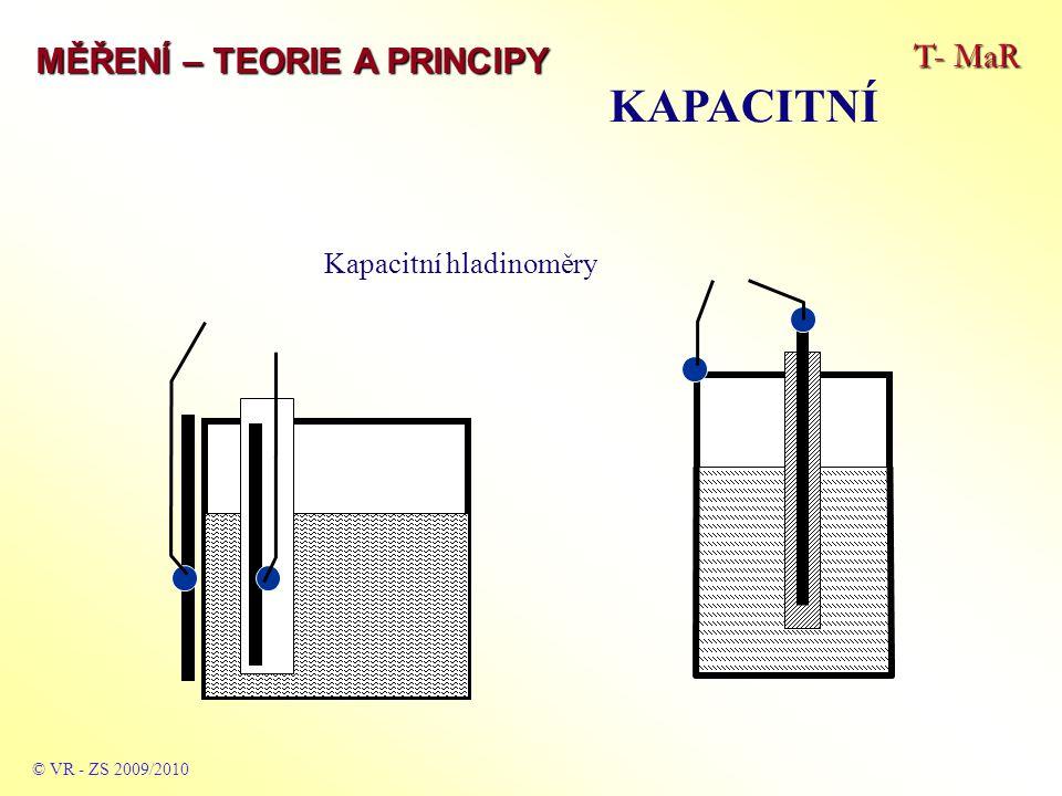 T- MaR MĚŘENÍ – TEORIE A PRINCIPY KAPACITNÍ © VR - ZS 2009/2010 Kapacitní hladinoměry