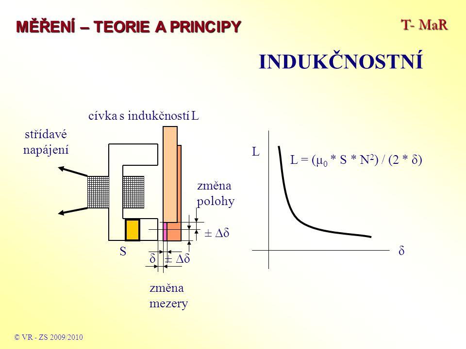 T- MaR MĚŘENÍ – TEORIE A PRINCIPY INDUKČNOSTNÍ © VR - ZS 2009/2010 δ ± ∆δ střídavé napájení cívka s indukčností L δ L L = (μ 0 * S * N 2 ) / (2 * δ) S ± ∆δ změna polohy změna mezery