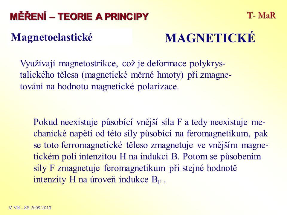 T- MaR MĚŘENÍ – TEORIE A PRINCIPY MAGNETICKÉ © VR - ZS 2009/2010 Využívají magnetostrikce, což je deformace polykrys- talického tělesa (magnetické měrné hmoty) při zmagne- tování na hodnotu magnetické polarizace.