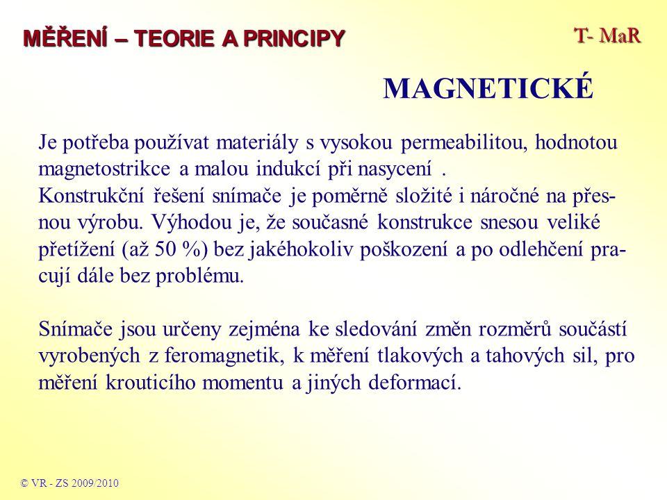 T- MaR MĚŘENÍ – TEORIE A PRINCIPY MAGNETICKÉ © VR - ZS 2009/2010 Je potřeba používat materiály s vysokou permeabilitou, hodnotou magnetostrikce a malou indukcí při nasycení.