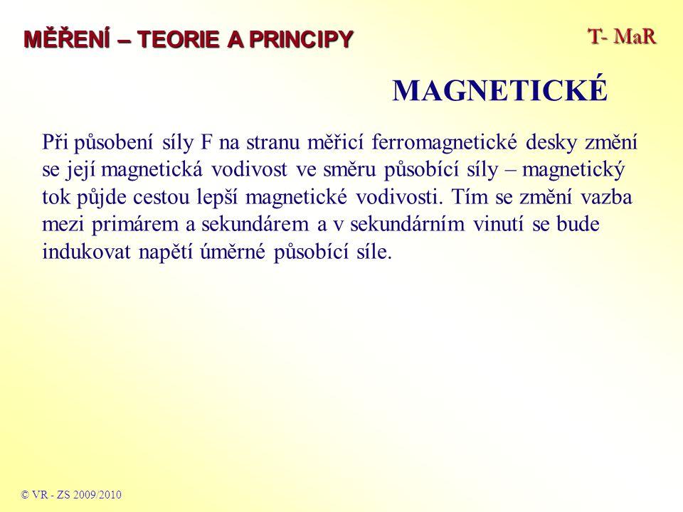 T- MaR MĚŘENÍ – TEORIE A PRINCIPY MAGNETICKÉ © VR - ZS 2009/2010 Při působení síly F na stranu měřicí ferromagnetické desky změní se její magnetická vodivost ve směru působící síly – magnetický tok půjde cestou lepší magnetické vodivosti.