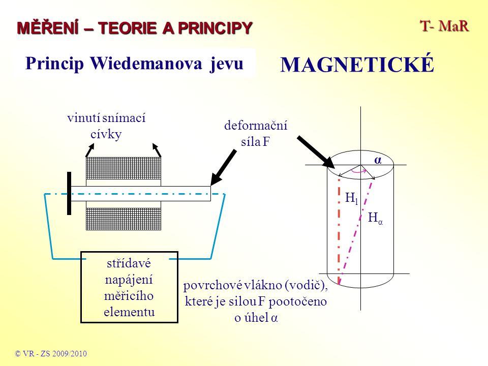 Princip Wiedemanova jevu T- MaR MĚŘENÍ – TEORIE A PRINCIPY MAGNETICKÉ © VR - ZS 2009/2010 střídavé napájení měřicího elementu deformační síla F vinutí snímací cívky HlHl HαHα α povrchové vlákno (vodič), které je silou F pootočeno o úhel α