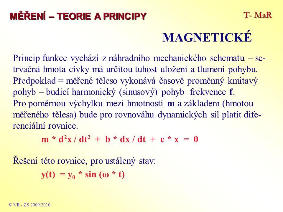 T- MaR MĚŘENÍ – TEORIE A PRINCIPY MAGNETICKÉ © VR - ZS 2009/2010 Princip funkce vychází z náhradního mechanického schematu – se- trvačná hmota cívky má určitou tuhost uložení a tlumení pohybu.
