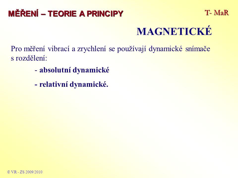 T- MaR MĚŘENÍ – TEORIE A PRINCIPY MAGNETICKÉ © VR - ZS 2009/2010 Pro měření vibrací a zrychlení se používají dynamické snímače s rozdělení: - absolutní dynamické - relativní dynamické.