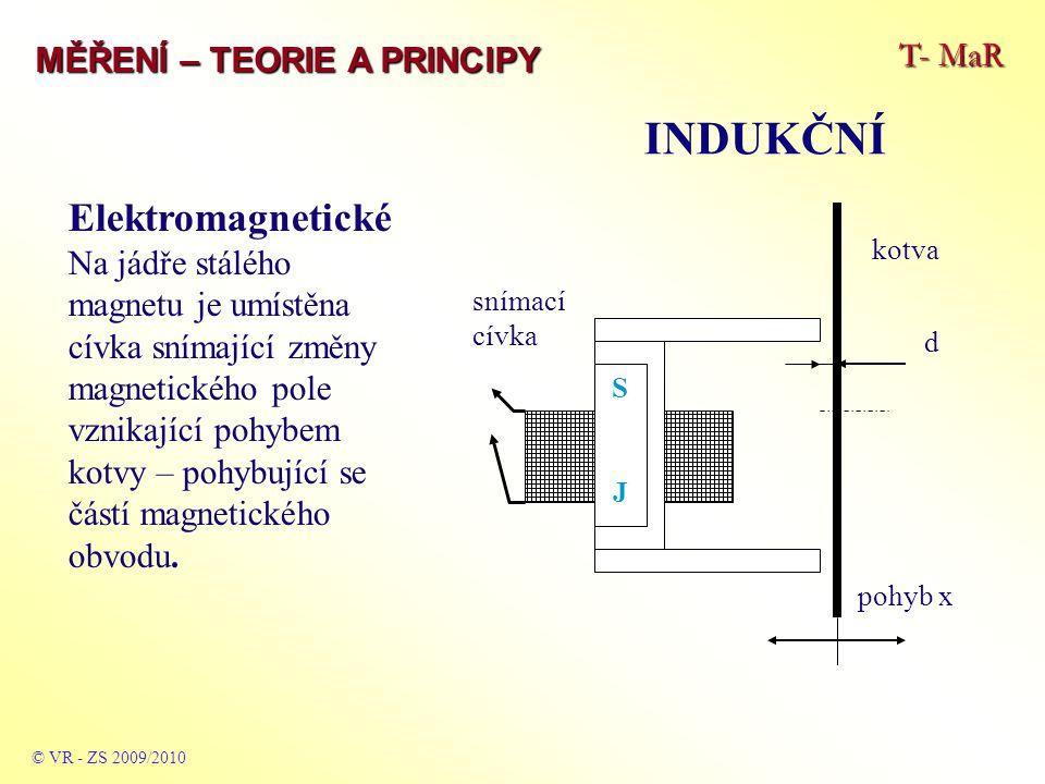 T- MaR MĚŘENÍ – TEORIE A PRINCIPY INDUKČNÍ © VR - ZS 2009/2010 Elektromagnetické Na jádře stálého magnetu je umístěna cívka snímající změny magnetického pole vznikající pohybem kotvy – pohybující se částí magnetického obvodu.