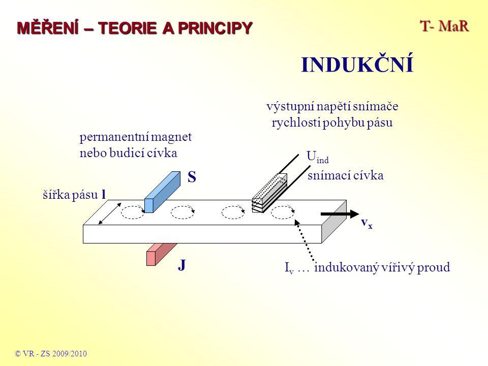 T- MaR MĚŘENÍ – TEORIE A PRINCIPY INDUKČNÍ © VR - ZS 2009/2010 šířka pásu l S J vxvx snímací cívka I v … indukovaný vířivý proud permanentní magnet nebo budicí cívka U ind výstupní napětí snímače rychlosti pohybu pásu