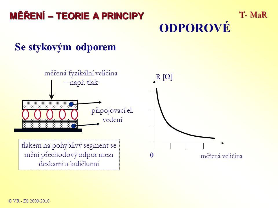 T- MaR MĚŘENÍ – TEORIE A PRINCIPY ODPOROVÉ © VR - ZS 2009/2010 Se stykovým odporem měřená fyzikální veličina – např.