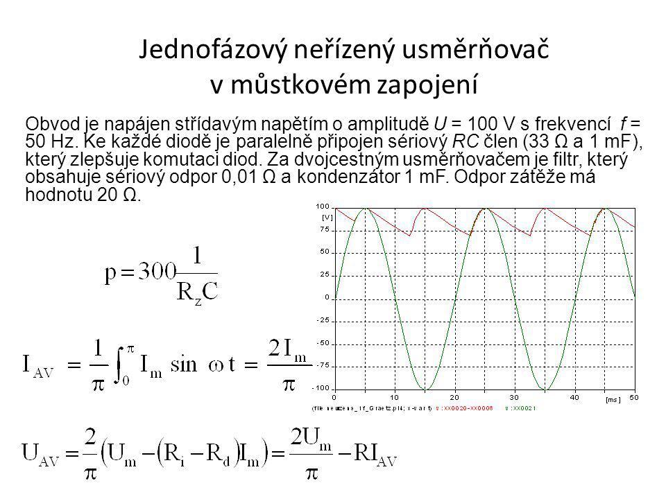 Obvod je napájen střídavým napětím o amplitudě U = 100 V s frekvencí f = 50 Hz. Ke každé diodě je paralelně připojen sériový RC člen (33 Ω a 1 mF), kt
