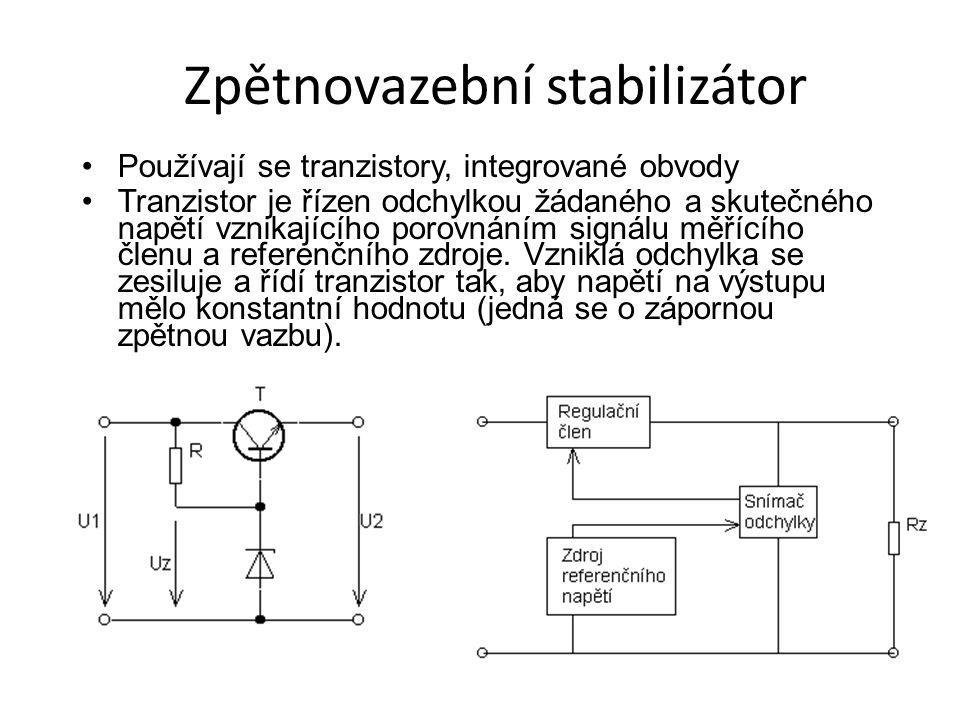 Zpětnovazební stabilizátor Používají se tranzistory, integrované obvody Tranzistor je řízen odchylkou žádaného a skutečného napětí vznikajícího porovn