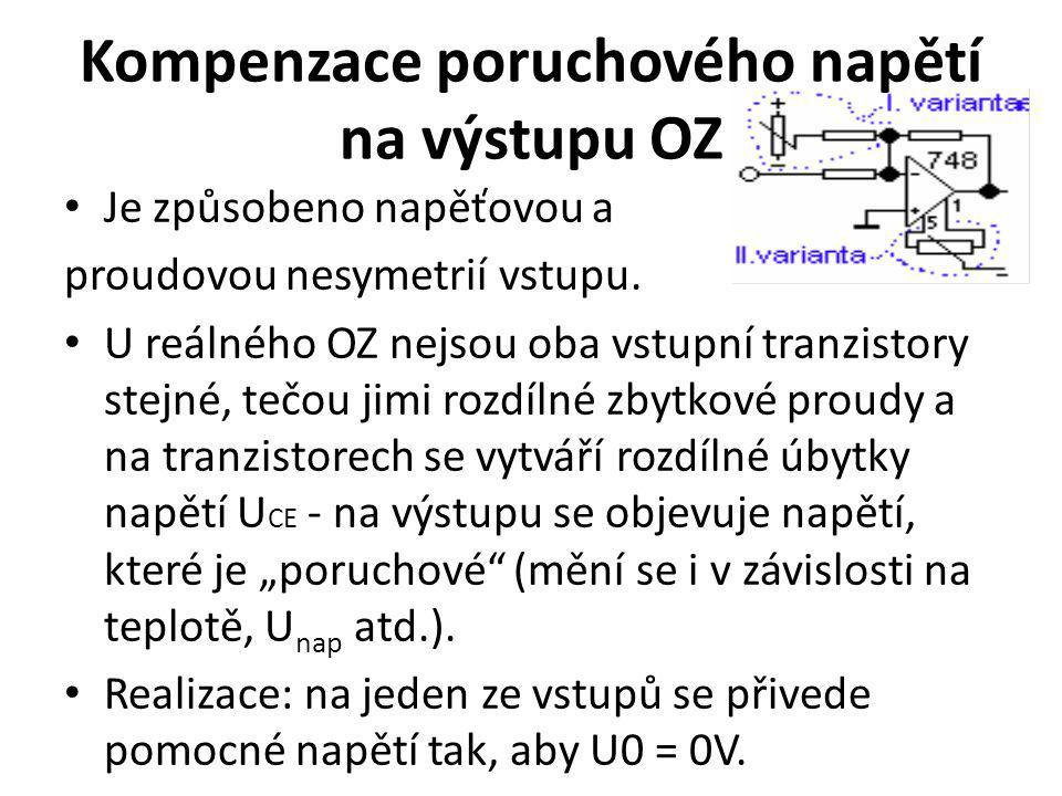 Kompenzace poruchového napětí na výstupu OZ Je způsobeno napěťovou a proudovou nesymetrií vstupu. U reálného OZ nejsou oba vstupní tranzistory stejné,