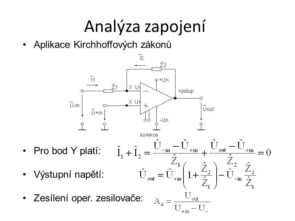 Analýza zapojení Aplikace Kirchhoffových zákonů Pro bod Y platí: Výstupní napětí: Zesílení oper. zesilovače: