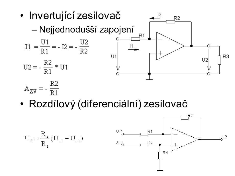Invertující zesilovač –Nejjednodušší zapojení Rozdílový (diferenciální) zesilovač