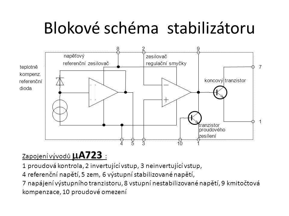 Blokové schéma stabilizátoru teplotně referenční zesilovač zesilovač 829 7 1 110354 tranzistor koncový tranzistor proudového zesílení kompenz. referen