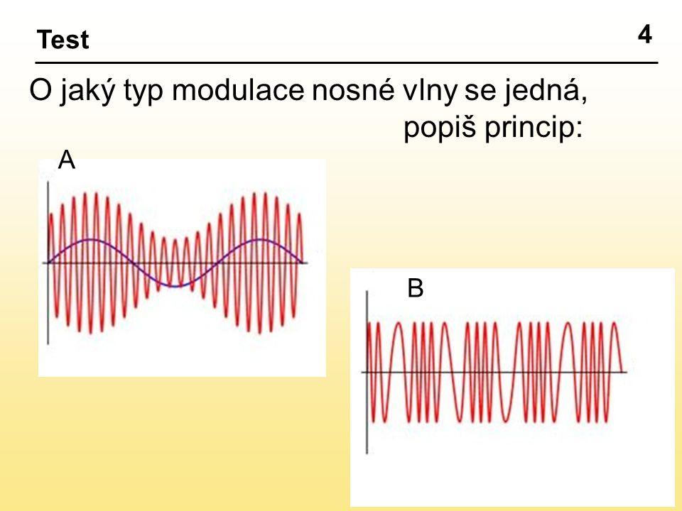 4 Test O jaký typ modulace nosné vlny se jedná, popiš princip: A B