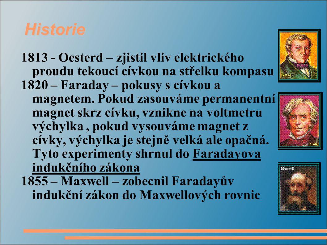 Historie 1813 - Oesterd – zjistil vliv elektrického proudu tekoucí cívkou na střelku kompasu 1820 – Faraday – pokusy s cívkou a magnetem.