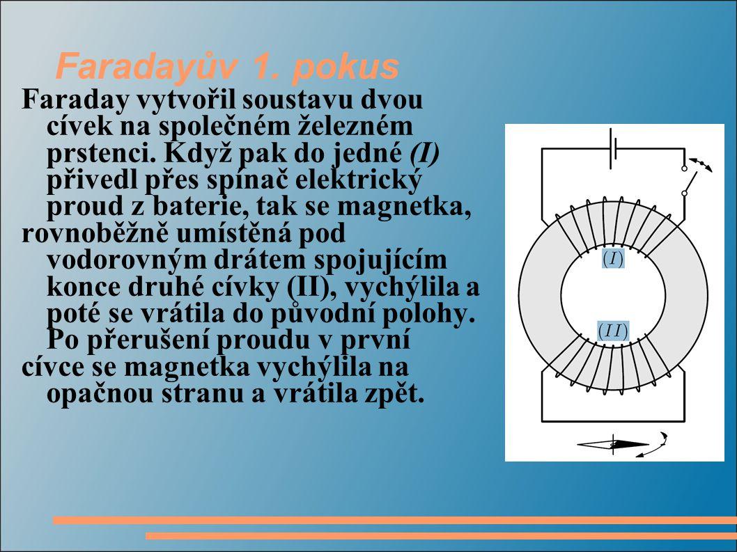 Faradayův 1. pokus Faraday vytvořil soustavu dvou cívek na společném železném prstenci.