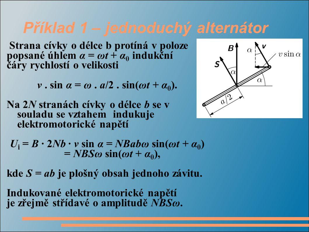 Příklad 1 – jednoduchý alternátor Strana cívky o délce b protíná v poloze popsané úhlem α = ωt + α 0 indukční čáry rychlostí o velikosti v.
