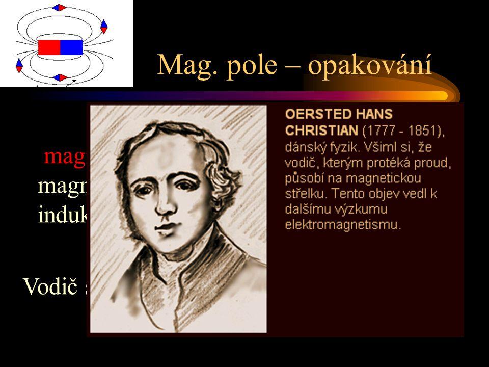 Mag. pole – opakování magnet – póly, netečné pásmo, magnetizace, domény, ferity, mag. pole, indukční čáry, Vodič s proudem= magnetické pole H. CH. Oer