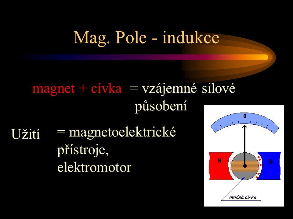 Mag. Pole - indukce magnet + cívka = vzájemné silové působení Užití = magnetoelektrické přístroje, elektromotor