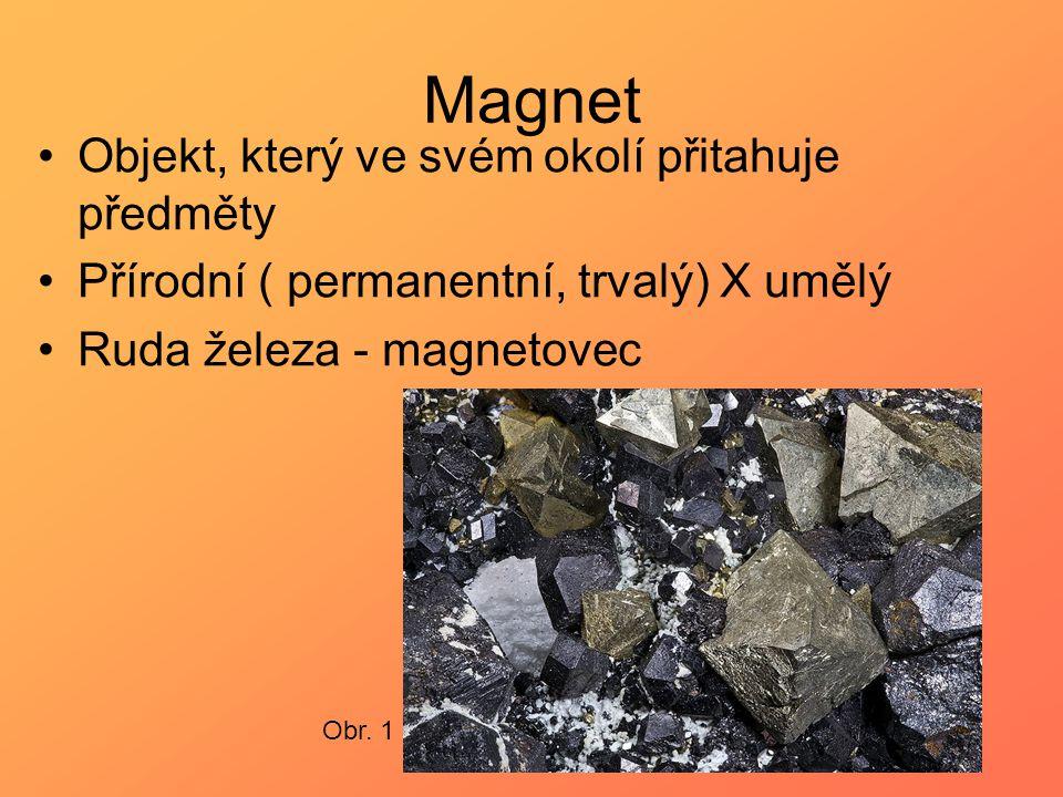 Magnet Objekt, který ve svém okolí přitahuje předměty Přírodní ( permanentní, trvalý) X umělý Ruda železa - magnetovec Obr. 1
