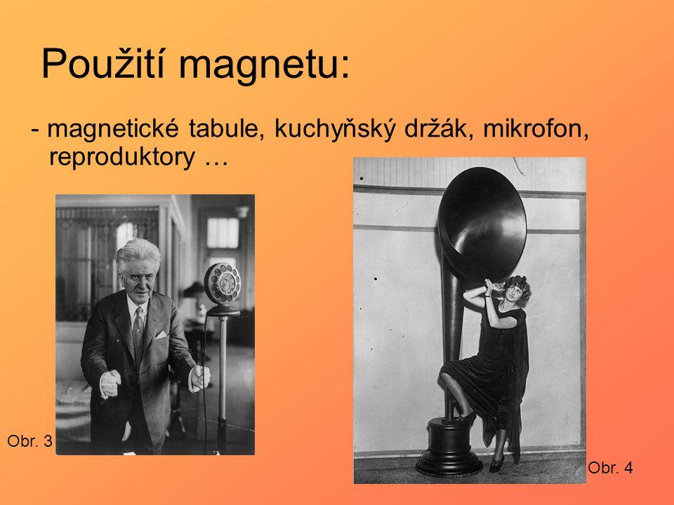 Použití magnetu: - magnetické tabule, kuchyňský držák, mikrofon, reproduktory … Obr. 3 Obr. 4