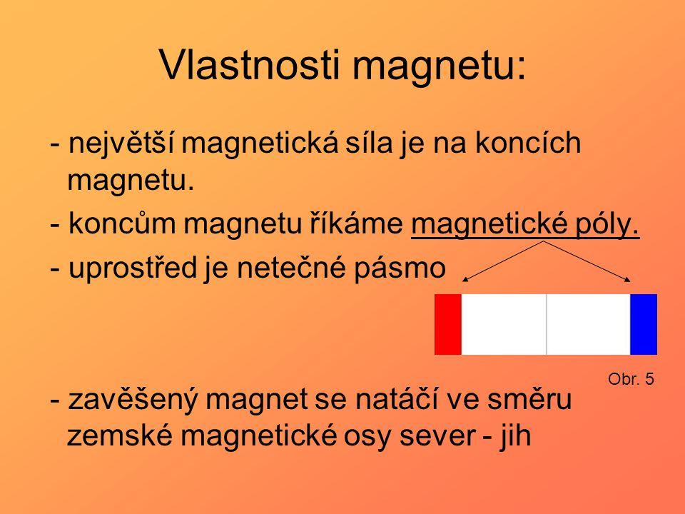Vlastnosti magnetu: - největší magnetická síla je na koncích magnetu. - koncům magnetu říkáme magnetické póly. - uprostřed je netečné pásmo - zavěšený