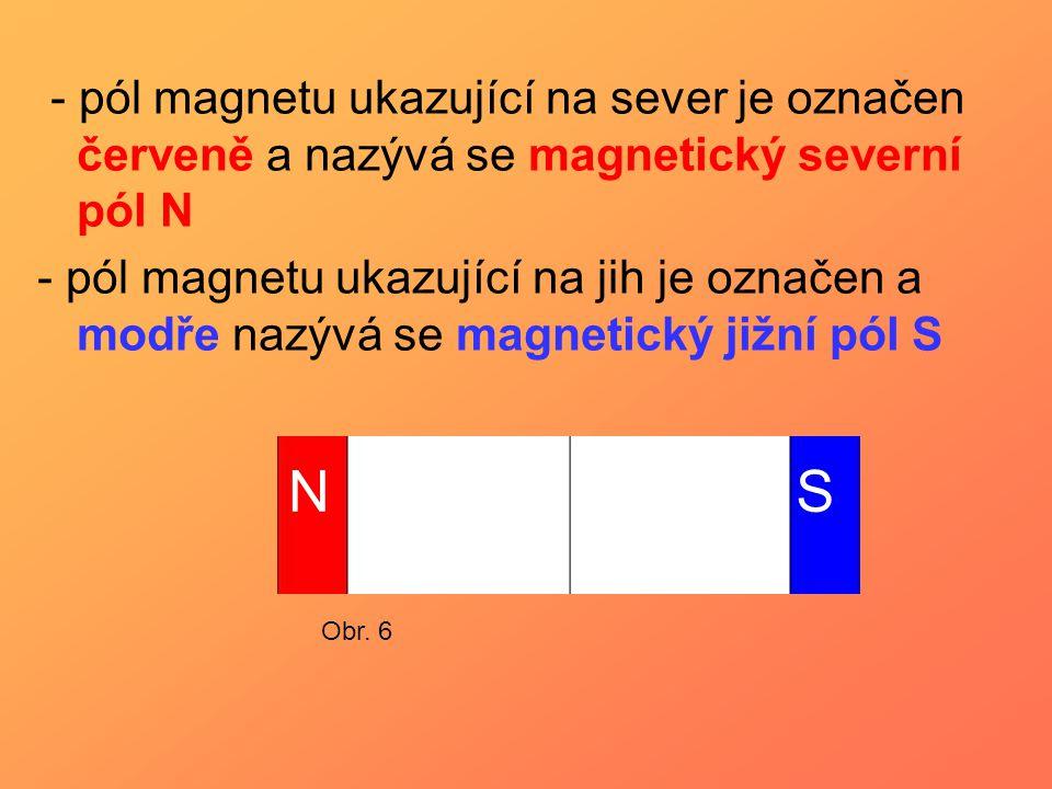 - pól magnetu ukazující na sever je označen červeně a nazývá se magnetický severní pól N - pól magnetu ukazující na jih je označen a modře nazývá se m