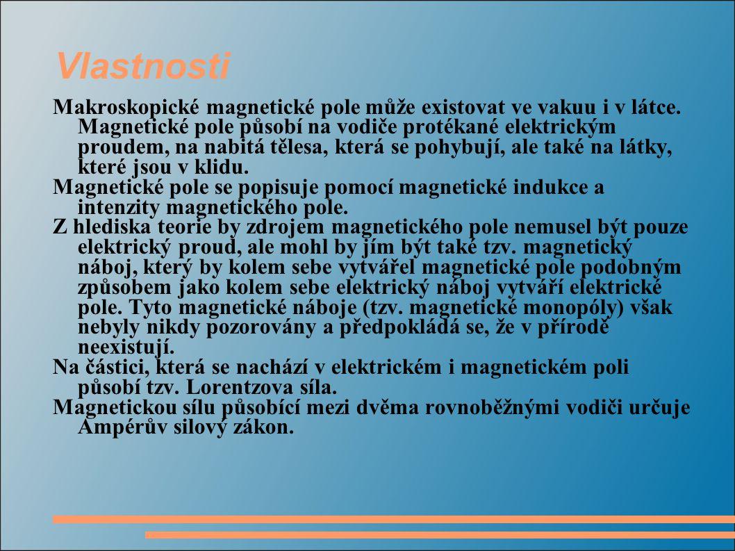 Vlastnosti Makroskopické magnetické pole může existovat ve vakuu i v látce.