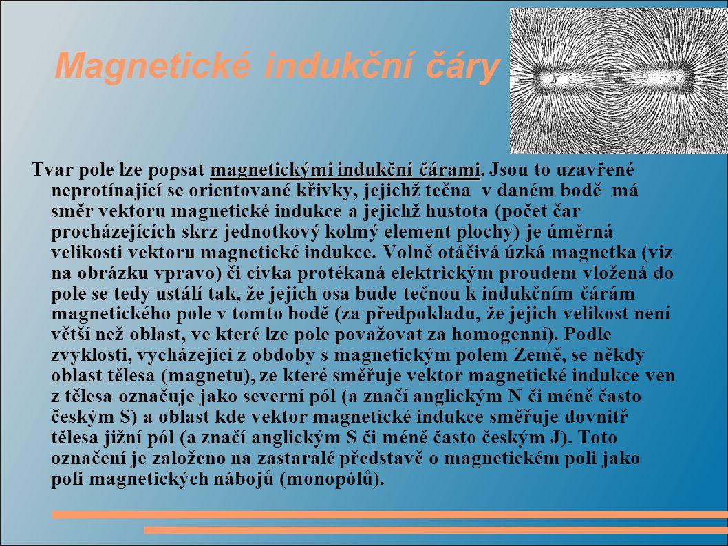Magnetické indukční čáry magnetickými indukční čárami Tvar pole lze popsat magnetickými indukční čárami.
